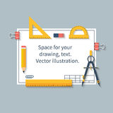 Drawing tools on paper with space for drawings and text. Ruler,. Protractor, compass, pencil, paper. Vector illustration, flat design. Can be used for Stock Photo