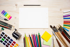 Drawing tools and paper Stock Photos