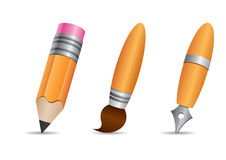 Drawing Tools. A  pencil, brush and fountain pen Royalty Free Stock Photography