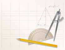 Drawing tools - pencil, protractor, divider Royalty Free Stock Photos