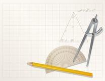 Drawing tools - pencil, protractor, divider Royalty Free Stock Photos