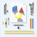 Drawing tools set . geometric drawing and tools set on gray background Stock Photo
