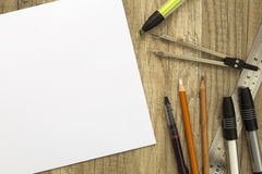 Drawing tools and sketch paper Royalty Free Stock Photography