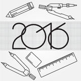 2016 and Drawing tools thin line icon set for web and mobile,  m. Odern minimalistic flat design. Set includes- pair of compasses, ruler, eraser, pencil icons Royalty Free Stock Photos