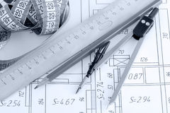 Drawing tools to plan Stock Photos