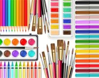 Drawing tools Vector realistic top view. Brush, watercolor palette, pencils, crayons. Detailed 3d illustrations. Drawing tools Vector realistic top view. Brush royalty free illustration