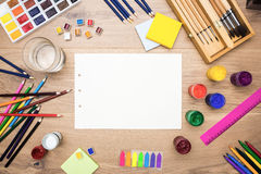 Drawing tools and water Royalty Free Stock Images