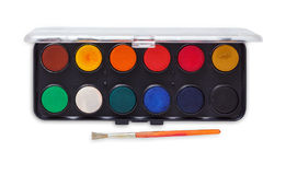 Drawing tools, watercolor palette with paint brush Stock Image