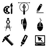 Drawing tools web and mobile logo icons collection. On white back. Vector symbols of education, learning, drawing and painting Royalty Free Stock Photography