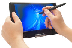 Drawing on touch computer. Drawing with pen on touch computer Royalty Free Stock Image