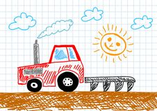 Drawing of tractor Royalty Free Stock Photo