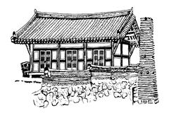Drawing of a traditional Korean house on a white background. Drawing of a traditional Korean house painted in black on a white background Royalty Free Stock Image