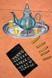 Drawing of traditional Moroccan tea and food Stock Photos