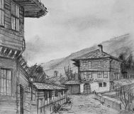 Drawing of Traditional Old Houses in Kotel Stock Photo