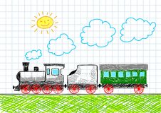 Drawing of train Royalty Free Stock Image