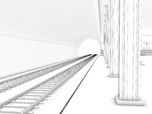 Drawing the train station  #1 Stock Photo