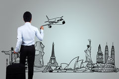 Drawing the travel. Stock Image