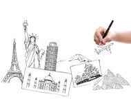Drawing travel around the world Royalty Free Stock Photos