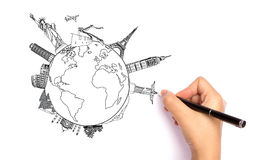 Drawing travel around the world royalty free stock photography