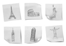 Drawing travel around the world on white note papers Royalty Free Stock Image