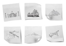 Drawing travel around the world Stock Images