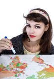 Drawing Travel Plans on a Map Royalty Free Stock Photography