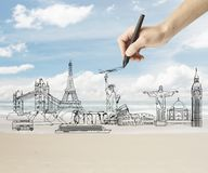 Drawing traveling concept Royalty Free Stock Images