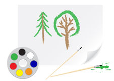 Drawing tree Royalty Free Stock Image
