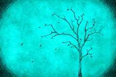 Drawing tree on blue Royalty Free Stock Images