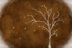 Drawing tree on brown Stock Image