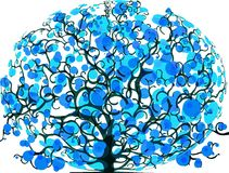 Drawing of a tree with foliage scrawled Royalty Free Stock Images
