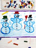 Drawing: tree happy snowmans and snowflakes. Photo of colorful hand drawing: tree happy snowmans and snowflakes Stock Photos