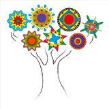 Drawing tree outline with circles the crown. Colorful Stock Images