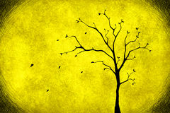 Drawing tree on yellow Stock Photography