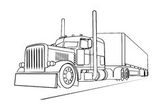 Drawing of the truck transporting a load Royalty Free Stock Image