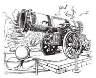 Drawing Tsar Cannon Moscow Stock Photography