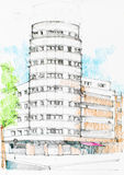 Drawing of a tubular construction in the city. Tubular building foregrounding and a tree to the left, in the street, drawing in pencil Royalty Free Stock Photos