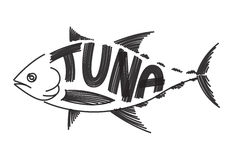 Drawing tuna, vector Stock Images