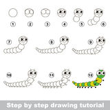 Drawing tutorial. Centipede. Stock Photo