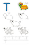 Drawing tutorial. Game for letter T Stock Image
