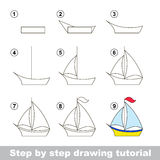 Drawing tutorial. How to draw a Boat. Step by step drawing tutorial. Visual game for kids. How to draw a Boat Stock Photography