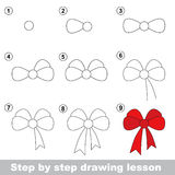 Drawing tutorial. How to draw a Bow. Step by step drawing tutorial. Vector kid game. How to draw a Bow Royalty Free Stock Photo