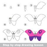 Drawing tutorial. How to draw a Butterfly. Step by step drawing tutorial. Vector kid game. How to draw a Butterfly Stock Photography