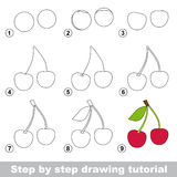 Drawing tutorial. How to draw a Cherry. Step by step drawing tutorial. Visual game for kids. How to draw a Cherry Stock Photo