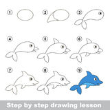 Drawing tutorial. How to draw a Dolphin. Step by step drawing tutorial. Vector kid game. How to draw a Dolphin Royalty Free Stock Images
