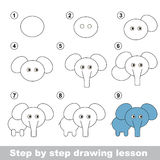 Drawing tutorial. How to draw a Elephant. Step by step drawing tutorial. Vector kid game. How to draw a Elephant Royalty Free Stock Image