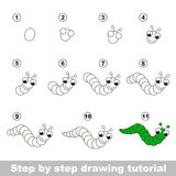 Drawing tutorial. How to draw a Funny Caterpillar Royalty Free Stock Images