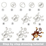Drawing tutorial. How to draw a Funny Monkey. Step by step drawing tutorial. Visual game for kids. How to draw a Funny Monkey Royalty Free Stock Image