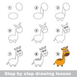 Drawing tutorial. How to draw a Giraffe. Step by step drawing tutorial. Vector kid game. How to draw a Giraffe Royalty Free Stock Image