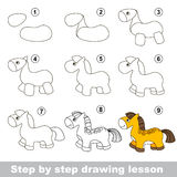 Drawing tutorial. How to draw a Horse. Step by step drawing tutorial. Vector kid game. How to draw a Horse Stock Images